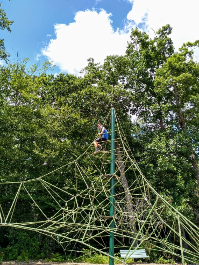 image of child at playground in the dinosaur place at nature's art village.