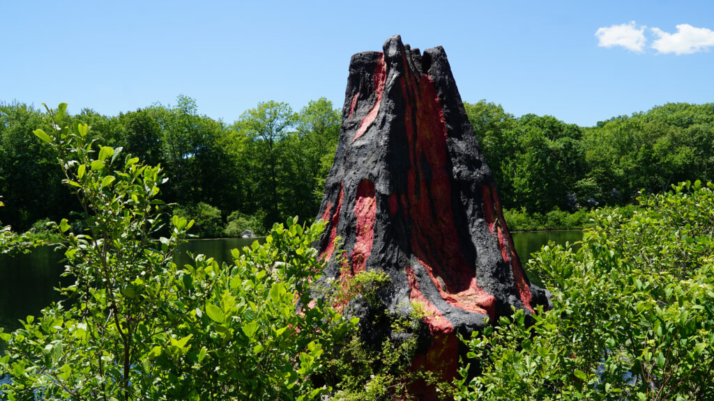image of volcano at the dinosaur place in connecticut.