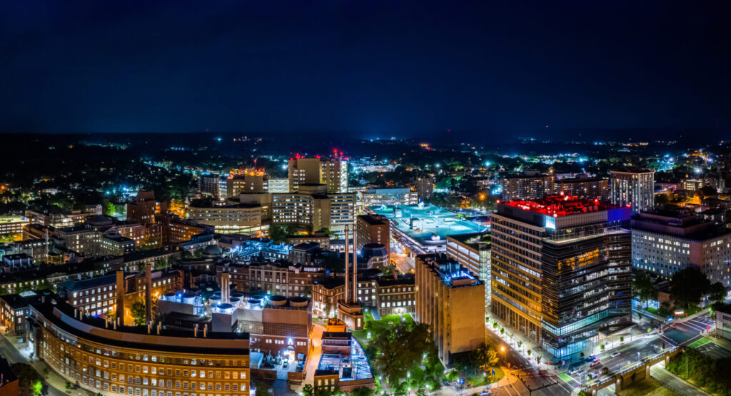 image of new haven connecticut at night.
