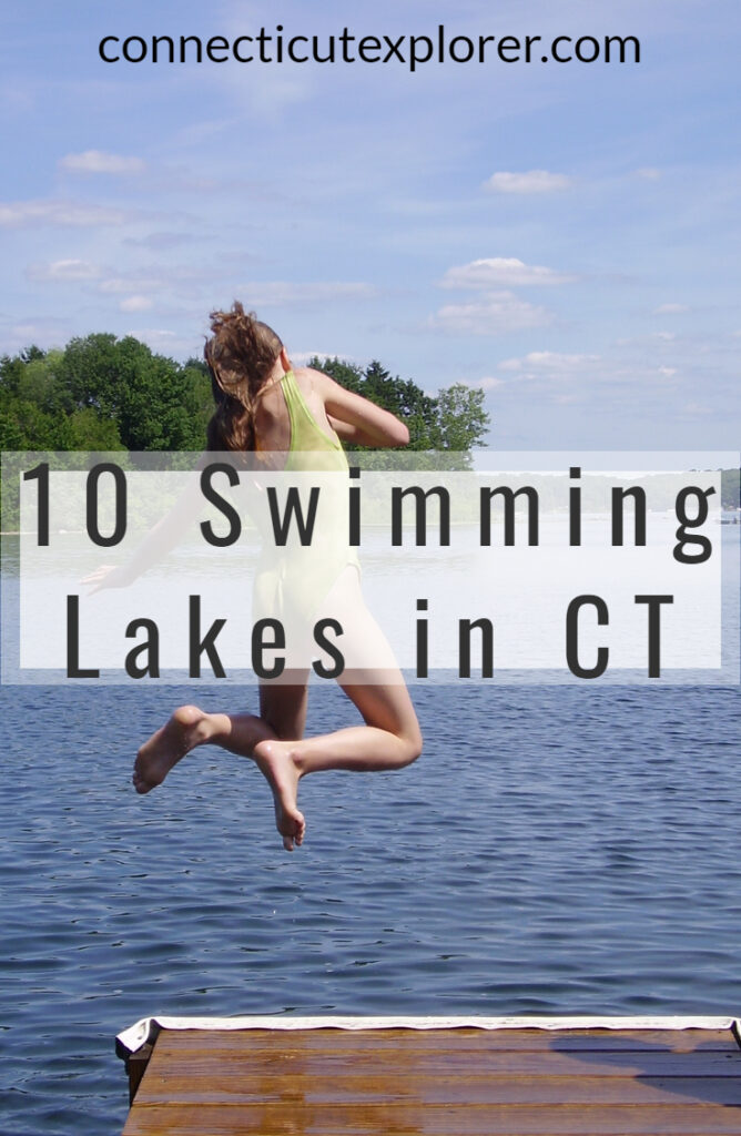 10 swimming lakes in connecticut pinterest image.
