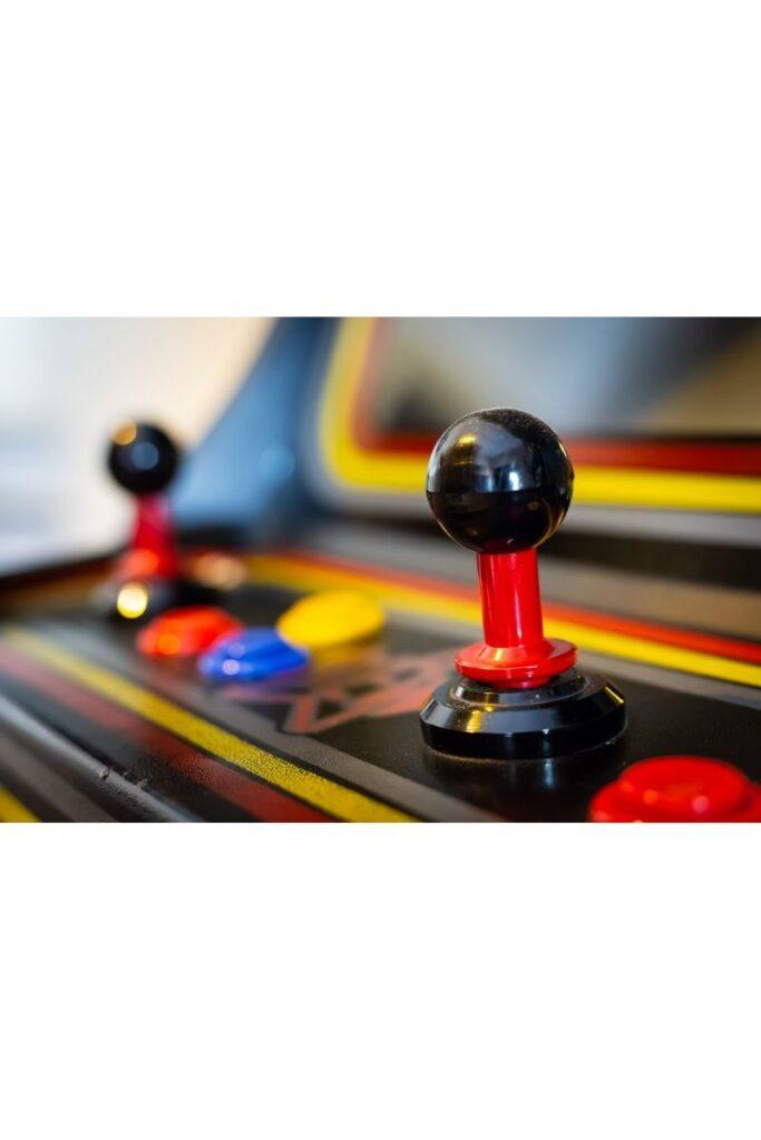 image of joysticks at connecticut arcade.
