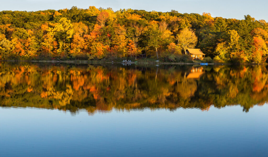 image of Connecticut lake with tress.