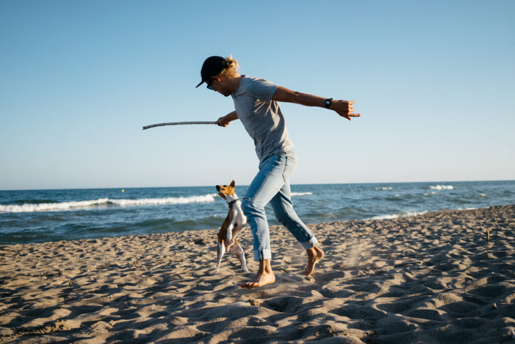 image of man playing with dog at dog-friendly beaches in Connecticut.