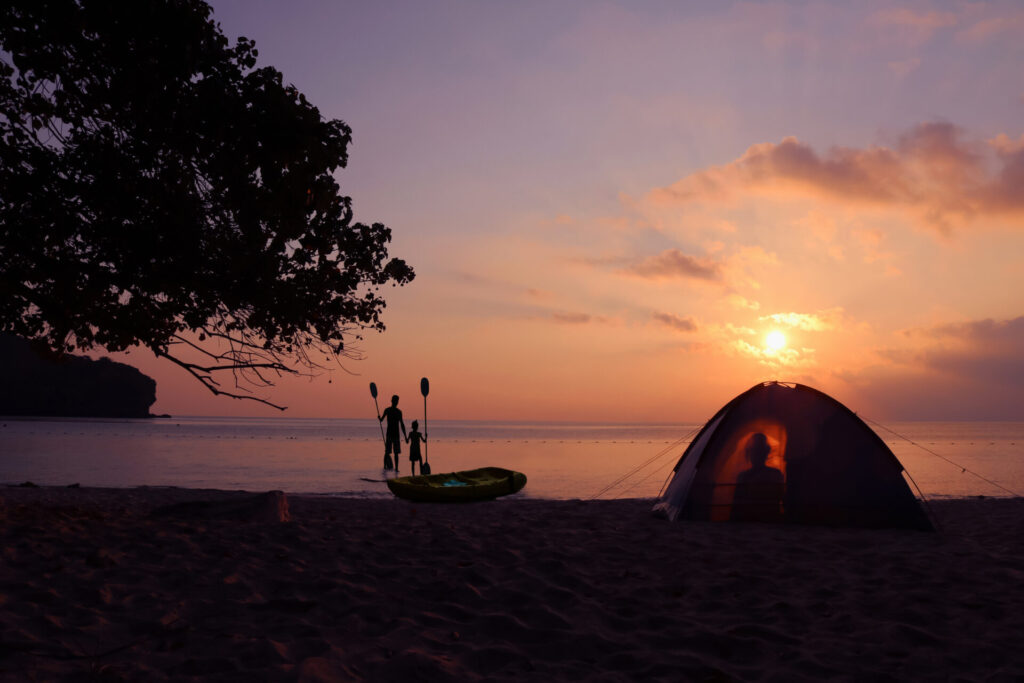 image of people beach camping in Connecticut.